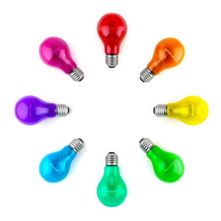Group of multi colour lamp bulbs isolated on white background. 3D illustration