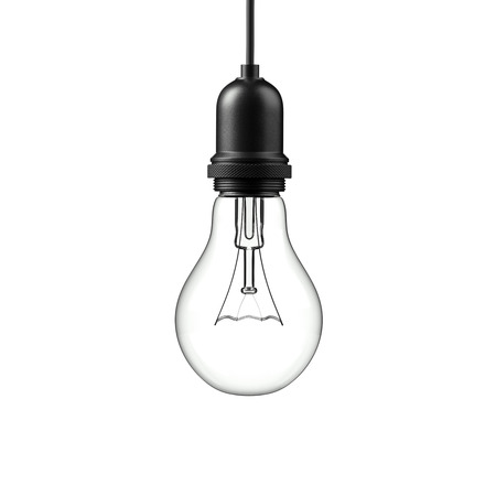 perpective: Lamp light bulb isolated on white background. 3D illustration