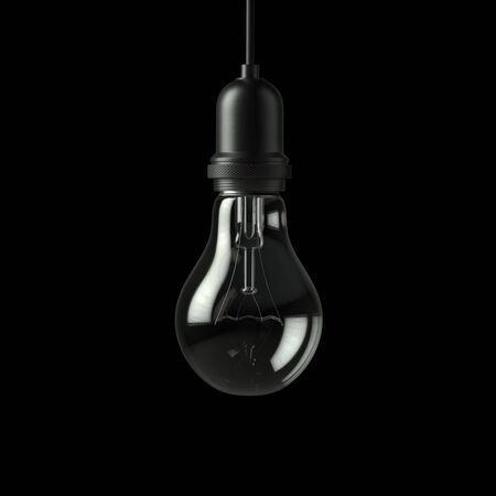 perpective: Lamp light bulb isolated on black background. 3D illustration Stock Photo