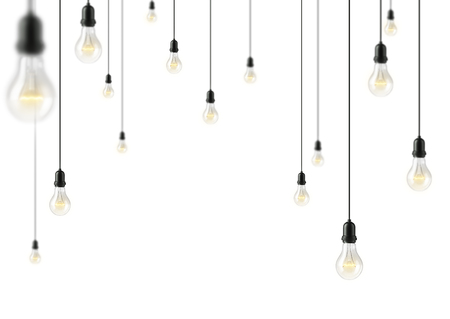string: Garland of group lamp light bulbs Illuminated on whitebackground. 3D illustration Stock Photo