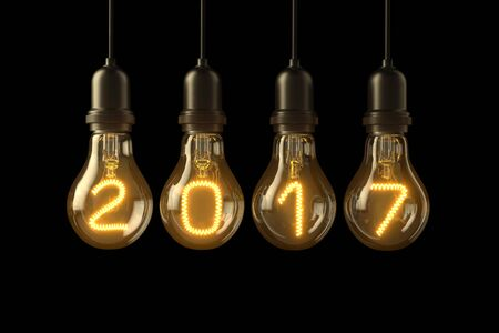 Christmas lamp light bulbs Illuminated new year 2017 on black background. 3D illustration