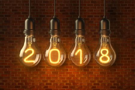 Christmas lamp light bulbs Illuminated new year 2018 on brick background. 3D illustration