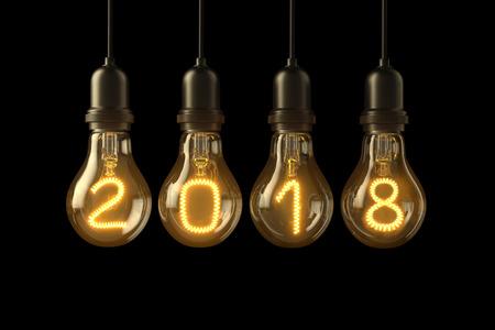 Weihnachten Lampe Glühbirnen neues Jahr Beleuchtet 2018 auf schwarzen Hintergrund. 3D-Darstellung