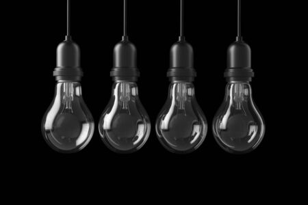 perpective: Lamp light bulbs isolated on black background. 3D illustration