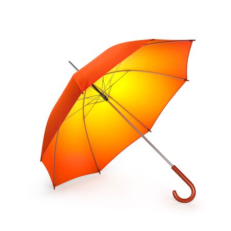 fall fashion: Orange autumn umbrella isolated on white background. 3D illustration
