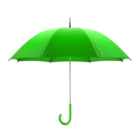 Green umbrella isolated on white background. 3D illustration