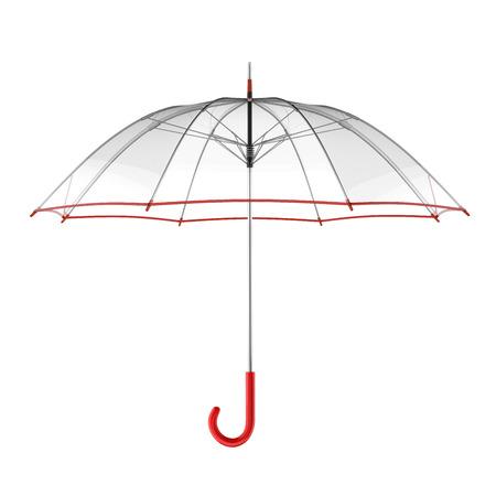 Klare transparente Regenschirm auf weißem Hintergrund. 3D-Darstellung