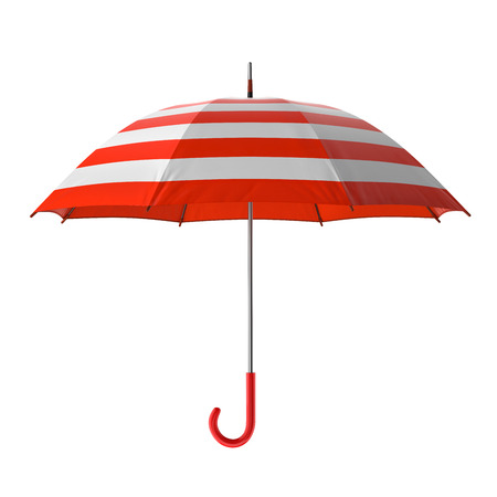 red umbrella: Summer beach red umbrella isolated on white background. 3D illustration