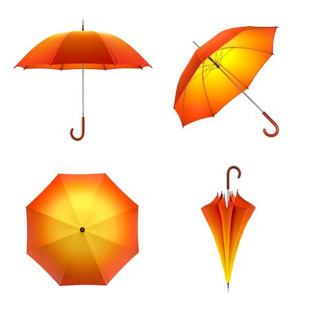 Orange autumn umbrella isolated on white background. 3D illustration