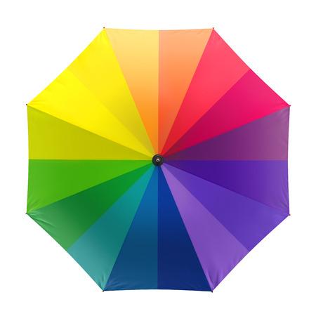 rainbow umbrella: Colorful rainbow umbrella isolated on white background. 3D illustration
