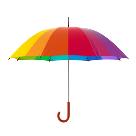 Colorful rainbow umbrella isolated on white background. 3D illustration
