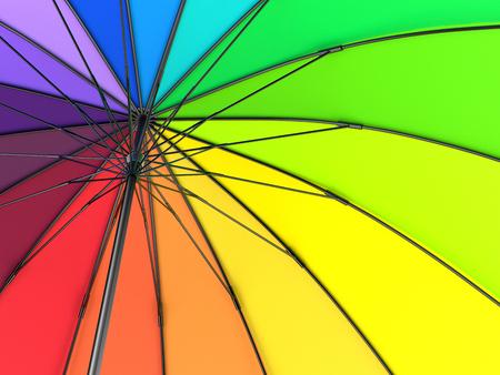 Colorful rainbow umbrella isolated on white background. 3D illustration