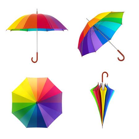 화려한 무지개 우산 흰색 배경에 고립입니다. 3D 일러스트 레이션 스톡 콘텐츠