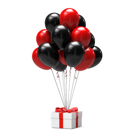 Black and red balloons with gift box isolated on white background. 3d illustration