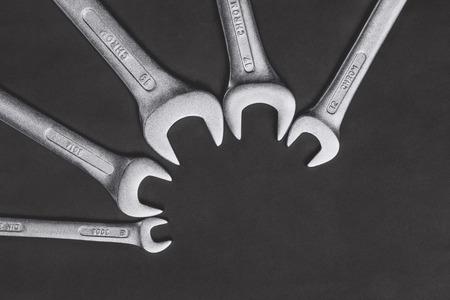 Wrenchs set on black background Stok Fotoğraf