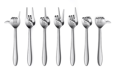 Fork hand finger gesture set isolated on white background. 3d illustration