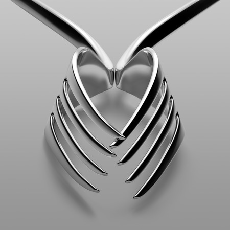 Two forks heart love silhouette concept. Geometry symmetry lines studio shot. Stock Photo