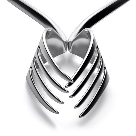 Two forks heart love silhouette concept. Geometry symmetry lines studio shot.