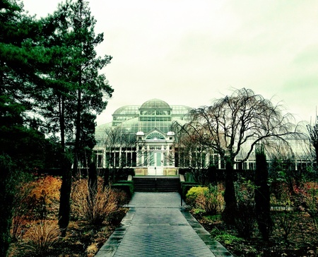 dreary: A gloomy day in December at the New York Botanical Gardens in Queens.  Stock Photo