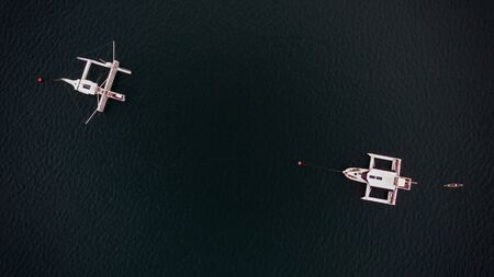 aerial view of the luxurios yatch Banco de Imagens