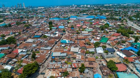 aerial view of the local settlement in Dar es salaam.