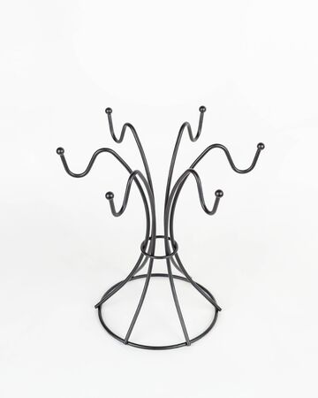 Hanger rack for mugs of black color on a white background, vertical arrangement. Compact placement of kitchen utensils