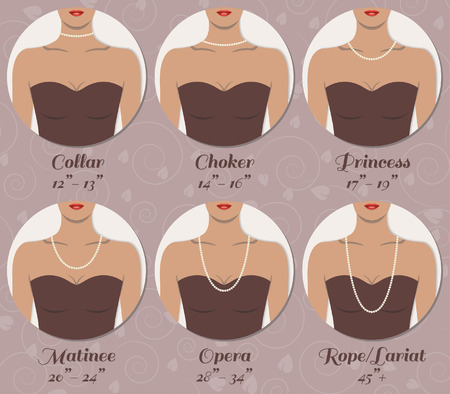 decolletage: Types of necklace Illustration