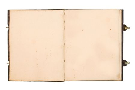 Open old book with blank yellowed pages.