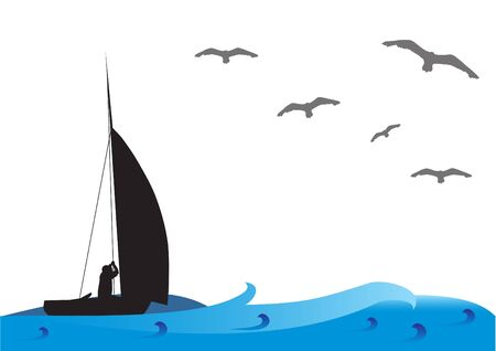 Fishing boat on the sea with birds on the sky. Illustration