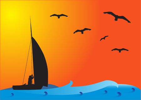 Fishing boat on the sea with birds on the sky at sunset (sunrise).