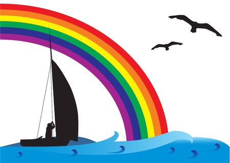 Fishing boat on the sea with birds and rainbow on the sky.
