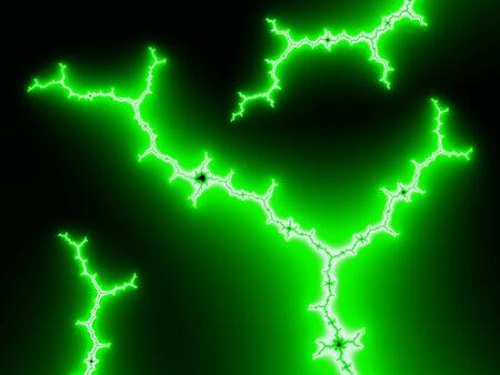 radiance: Fractal image of nerves with green radiance.