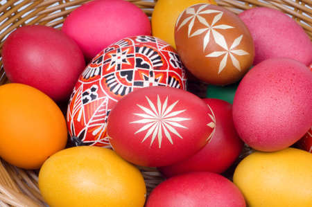 Colorful Easter eggs in straw basket