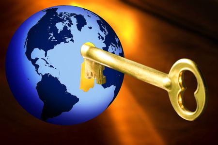 Golden key opening blue globe with world map