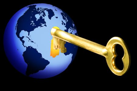 Golden key opening blue globe with world map on black