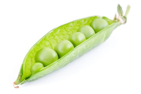 half open: Vivid green half open pea pod on white background