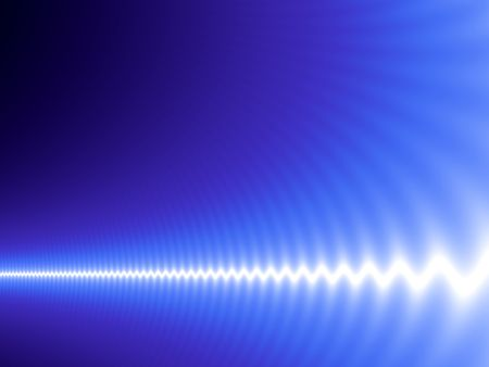 oscillation: Abstract design with white harmonic wave on blue background