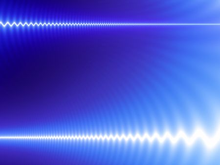 Abstract technology design with white waves on blue background