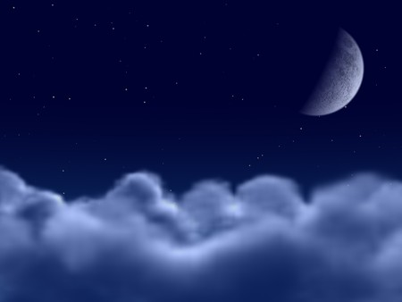 Fantastic blue night sky with stars, clouds and crescent moon