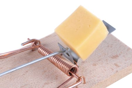 mousetrap: Mousetrap with a piece of cheese on white background.