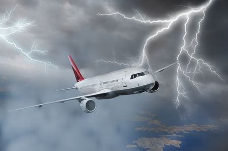 lightning storm: Passenger airplane flying above sea on stormy sky Stock Photo