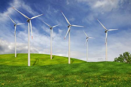 Turbinen eines Windparks in ideale ländlichen Landschaft.  Standard-Bild