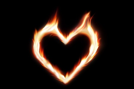 Flaming heart of fire - symbol of passionate love Stock Photo - 7443017