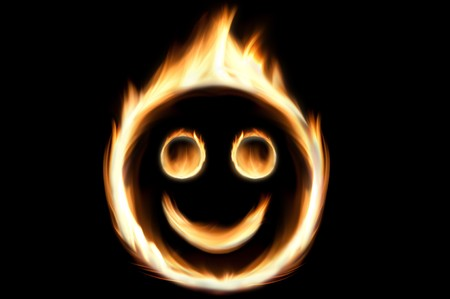 Fire smiley - flames in shape of a smiling face