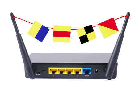 access point: Wireless access point with signal flags