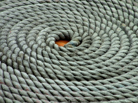 rigging: Sailing Yacht Rope Coil Stock Photo