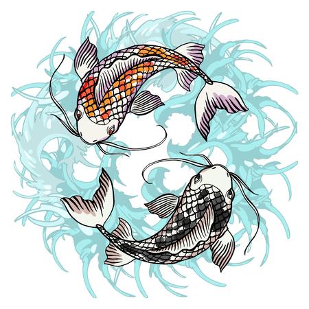 Un'illustrazione disegnata a mano dettagliata realistica di due carpe a specchi che nuotano sul fondo delle onde di acqua. Immagine grafica variopinta di stile del tatuaggio che simboleggia il concetto di yin yang. T-shirt stampata.