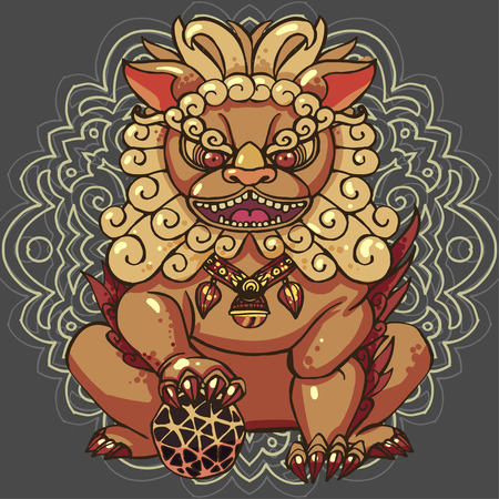 Realistic detailed hand drawn illustration of stylized chinese foo dog guardian statue. Protection symbol. Colorful graphic tattoo style image. T-shirt print. Иллюстрация