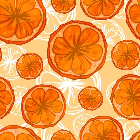 Hand drawn tile pattern with slices of oranges and white contour background. Food theme art.
