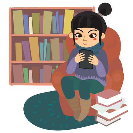 Hand drawn illustrastion of a young asian girl redaing from e-reader sitting on a chair at home near paper book pile. Illustration in flat style isolated on white background.